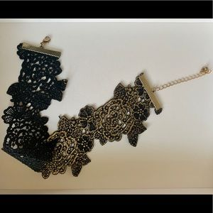 Jewelry - Black Lace With Gold reversible choker necklace